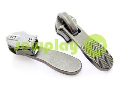 Бегунок обувной Relief для спиральной молнии тип 7 темный никель арт 404