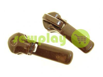 Slider Baryshevka 22 for spiral zipper type 6 type 7 brown sku 460