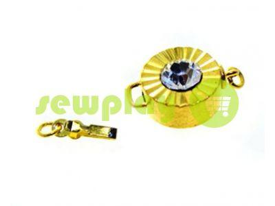 Застежка для бус круглая с камнем АВ d=12mm золото арт 488