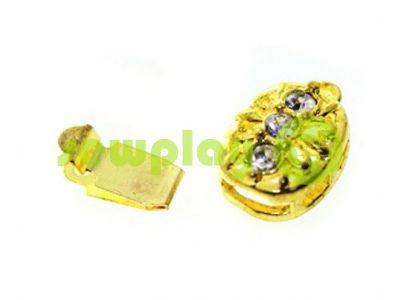 Застежка для бус овальная с 3 камнями 9мм*12мм золото арт 497