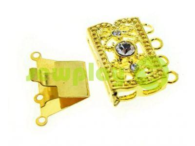 Застежка для бус прямоугольная с 3 камнями 12мм*20мм золото арт 527