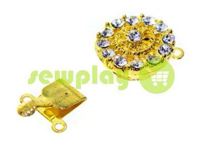 Застежка для бус круглая с 14 камнями d=16mm золото арт 528