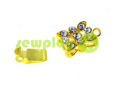 Clasp for necklace Flower with 9 stones 10mm * 12mm gold sku 532