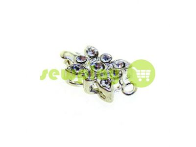 Clasp for necklace Flower with 9 stones 10mm * 12mm nickel sku 533
