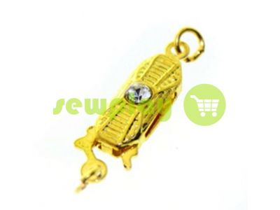 Clasp for beads with 1 stone 5mm * 12mm gold sku 535
