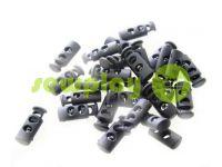 Fixator for cord d = 5mm plastic two-hole 9mm * 21mm black, 10 pcs sku 611