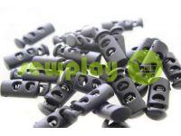 Фиксатор для шнура d=5мм пластиковый на два отверстия 9мм*21мм черный, 10 шт