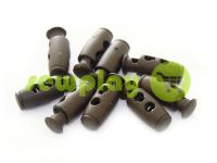 Fixator for cord d = 4mm plastic two-hole 9mm * 21mm brown, 10 pcs sku 614
