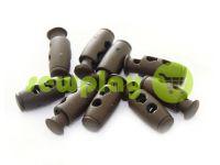Фиксатор для шнура d=4мм пластиковый на два отверстия 9мм*21мм коричневый, 10 шт
