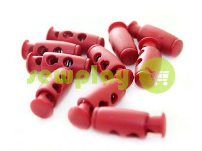 Fixator for cord d = 4mm plastic two-hole 9mm * 21mm red, 10 pcs sku 615