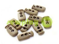 Fixator for cord d = 4mm plastic two-hole 12mm * 23mm brown, 10 pcs