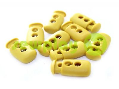 Fixator for cord d = 4mm plastic two-hole 12mm * 23mm mustard, 10 pcs sku 621