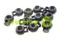 Фиксатор для шнура d=8мм круглый на одно отверстие 17мм*22мм черный, 10 шт