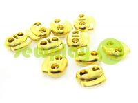 Fixator for cord d = 5mm elips two-hole 18mm * 20mm gold, 10 pcs sku 646