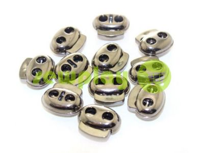 Fixator for cord d = 4mm elips two-hole 16mm * 18mm black nickel, 10 pcs sku 649