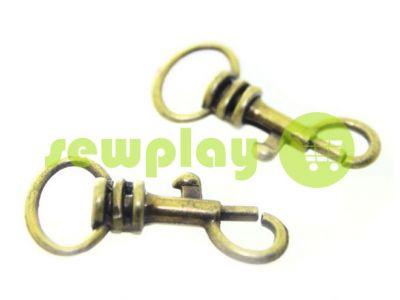 Карабин металлический для ключей под тесьму 13мм антик 13 мм*33 мм арт 738