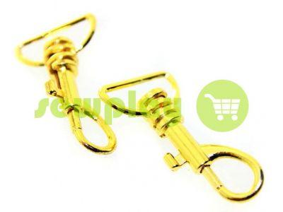 Карабін металевий для ключів під тасьму 20мм золото 20 мм * 45 мм арт 739