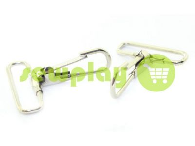 Metal Carabiner for bags under the braid 35mm nickel 37 mm * 50 mm sku 741