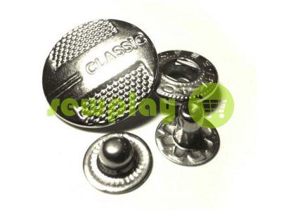 Кнопка Alfa Classic 15 mm, 20 mm никель Китай, 50 шт арт 777