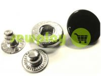 Button Alfa smooth 15 mm 17 mm 20 mm black China, 50 pcs