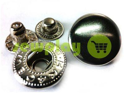 Кнопка NEWstar-Alfa гладкая 15 mm темный никель Турция, 72 шт арт 787