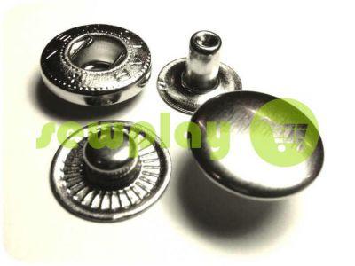 Кнопка NEWstar-Alfa гладкая нержавеющая 9,5 мм, 12,5 мм, 15 мм никель Турция, 72 шт арт 791
