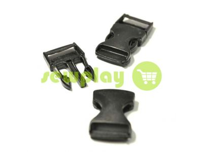 Plastic carabiner one-touch two-class 20 mm 25 mm the black sku 848