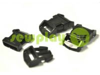 Plastic carabiner two-button two-class garter 15 mm the black