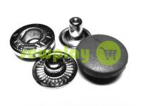 Button Alfa with black plastic cap 17 mm oxide China, 50 pcs