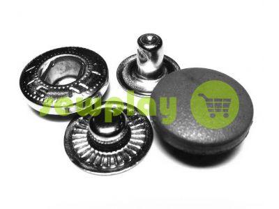 Button Alfa with black plastic cap 17 mm oxide China, 50 pcs sku 2713