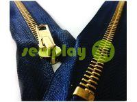 Блискавка джинсова тип 5, довжина 18 см, колір синій, зуб золото