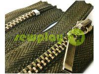 Блискавка металева карманна тип 4, довжина 16 см, колір оливковий, зуб нікель