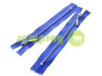 Молния металлическая карманная тип 4, длина 16 см, цвет голубой, зуб никель