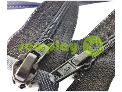 Zipper Baryshevka spiral reinforced type 6 two slider 60 cm - 150 cm, black sku 1590