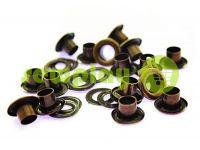 Люверс стальной с кольцом 3 мм - 17 мм, цвет антик, 50 шт