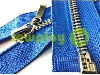 Молния металлическая тип 4 разъемная, цвет голубой, зуб никель