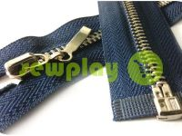 Молния металлическая тип 4 разъемная, цвет синий, зуб никель