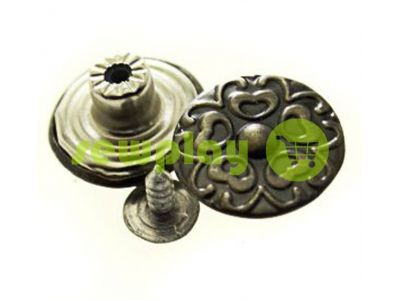 "Buttons denim stainless ""Flower"" 17 mm, color black nickel, 10 pcs sku 2026"