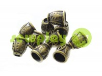 "Tip ""bell patern"" plastiс antique 12 mm* 13 mm, cord d= 5 mm, 10 pcs"