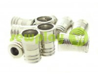 "Tip fluted ""Barrel"" plastiс nickel, 10 mm* 16 mm, cord d= 5 mm, 10 pcs"
