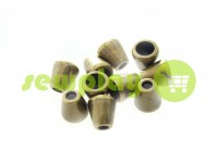 "Tip ""bell"" plastiс antique 10 mm* 10 mm, cord d= 4 mm, 10 pcs"