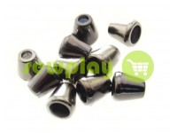 "Tip ""bell"" plastiс black nickel 10 mm* 10 mm, cord d= 4 mm, 10 pcs"