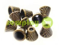 "Tip ""bell point"" plastiс antique 10 mm* 10 mm, cord d= 4 mm, 10 pcs"