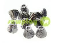 "Tip ""bell point"" plastiс black nickel 10 mm* 10 mm, cord d= 4 mm, 10 pcs"