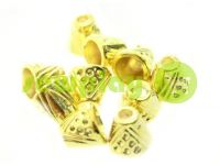 "Tip ""bell point"" plastiс gold 10 mm* 10 mm, cord d= 4 mm, 10 pcs"