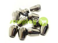 "Tip ""bell"" plastiс black nickel 13 mm* 11 mm, cord d= 5 mm, 10 pcs"