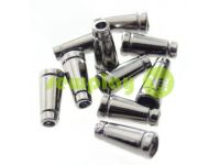 "Tip ""bell tube"" plastiс black nickel 19 mm* 11 mm, cord d= 4 mm, 10 pcs"