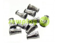 "Tip ""bell ap"" plastiс black nickel 14 mm* 9 mm, cord d= 4 mm, 10 pcs"