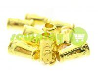 """Наконечник пластиковый """"Колокольчик-ap"""" 14 мм*9 мм золото, под шнур d=4 мм, 10 шт"""