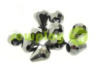 "Tip ""Drop"" plastiс black nickel 11 mm* 9 mm, cord d= 3 mm, 10 pcs"
